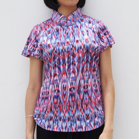 Mui Jai Top with Contrast Buttons (Foliage/Fucshia)