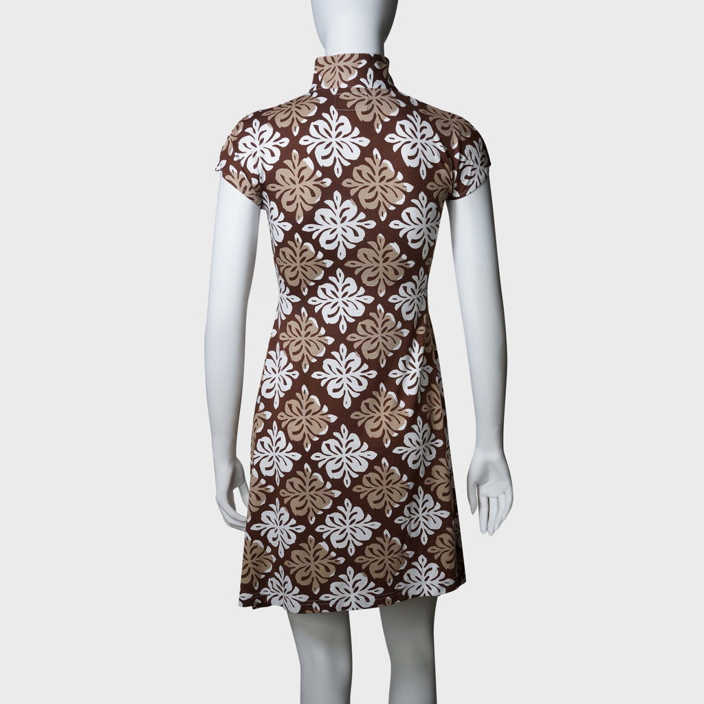 'Yung Chung' flared qipao (Brown tiles)