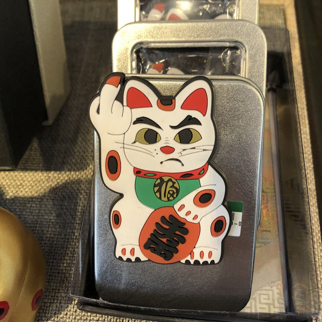 'Angry Cat' Magnet - White with Green Bib