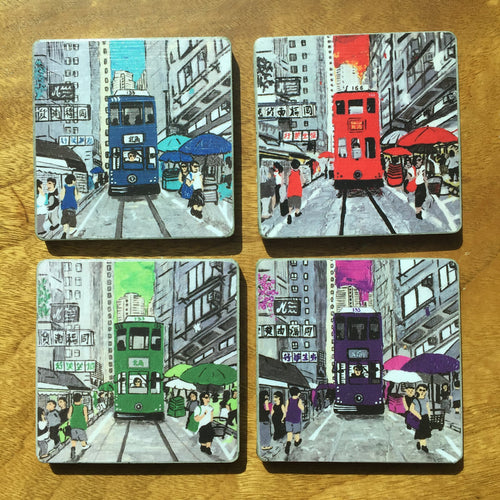 diFV-art HK Tram Coasters set of 4