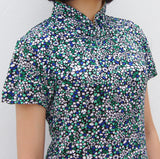 Jersey Mui Jai Top (Green/White Petals)