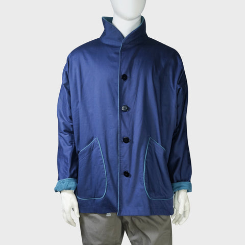 High Collar Chinese Coat with fleece trim (Navy) | Goods of Desire