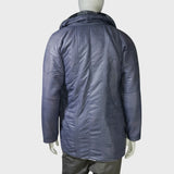 High Collar Chinese Coat with fleece trim (Charcoal Stripes)