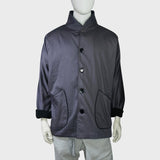 High Collar Chinese Coat with fleece trim (Black) | Goods of Desire