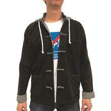 Load image into Gallery viewer, Denim Knot Button Hoodie,  Black