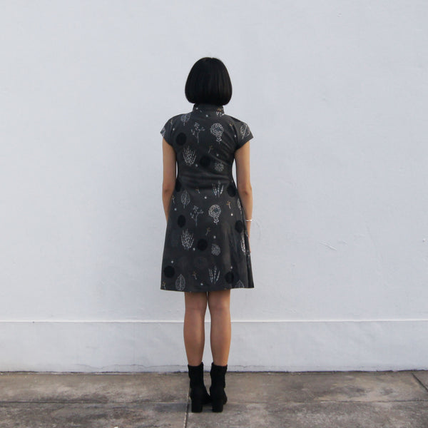'Yung Chung' Jacquard Qipao dress, Grey Forest