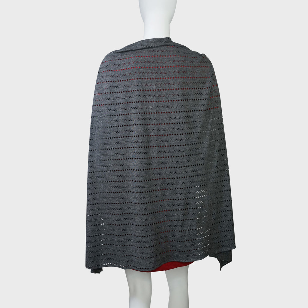'Wai Ying' cape shawl (Charcoal Pointelle)
