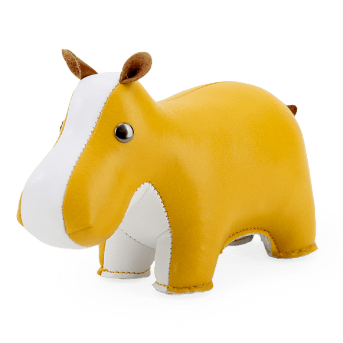 Zuny Paperweight Hippo, Ochre Yellow + White
