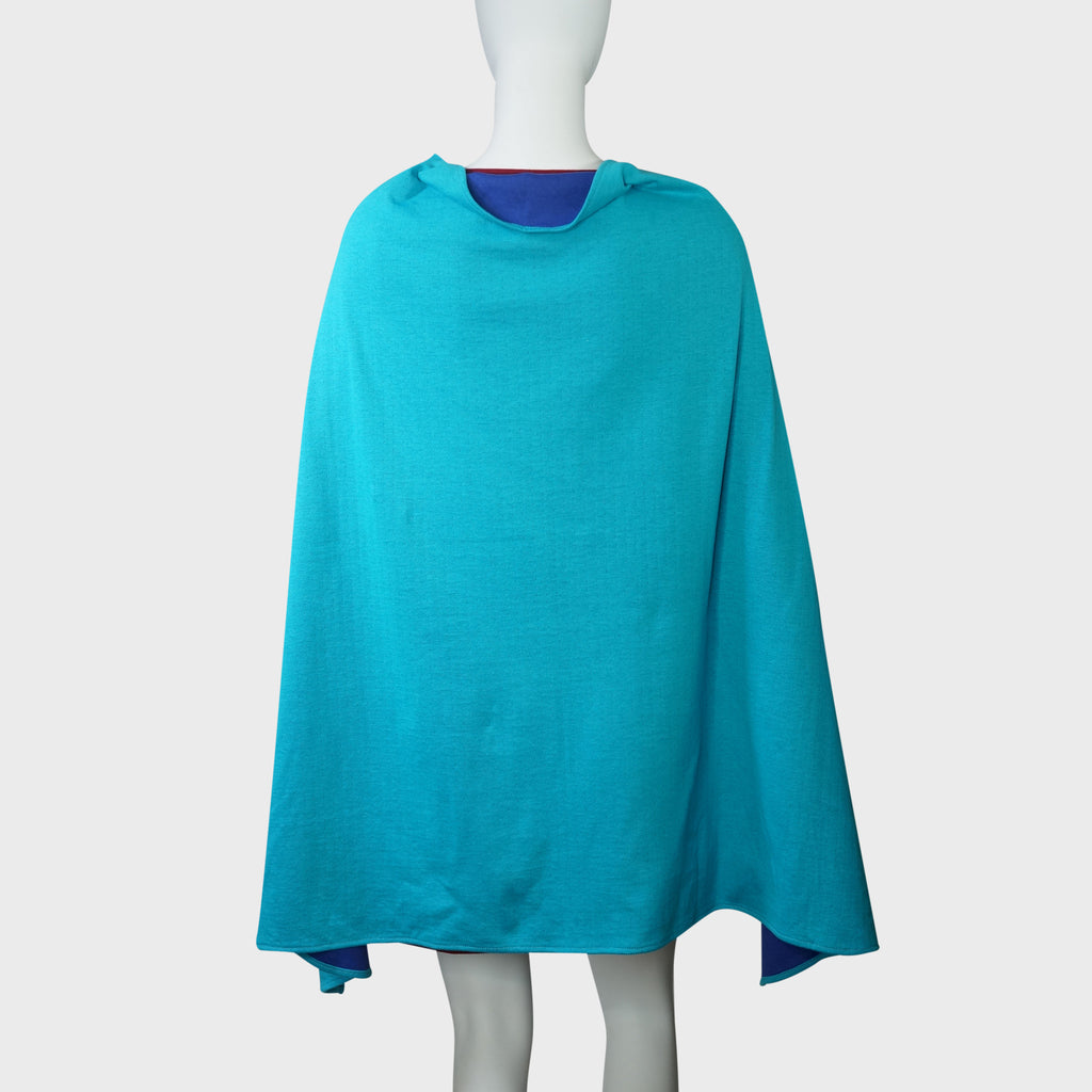 'Wai Ying' cape shawl (Aqua/blue)