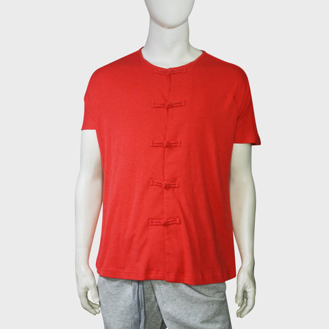 Jersey Chinese buttons tee (Red) | Goods of Desire
