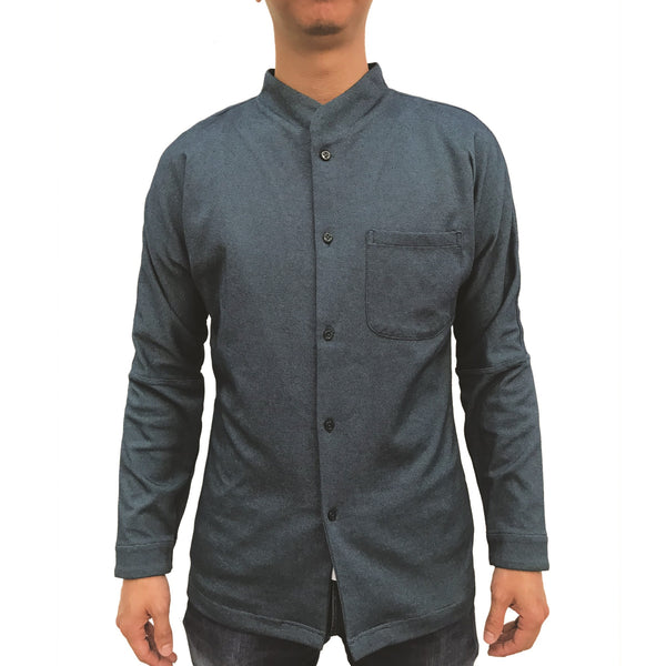 Chinese Stand Collar Shirt, Navy
