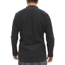 Load image into Gallery viewer, Chinese Stand Collar Shirt, Blue Denim