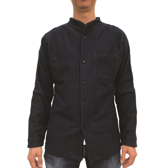 Chinese Stand Collar Shirt, Blue Denim