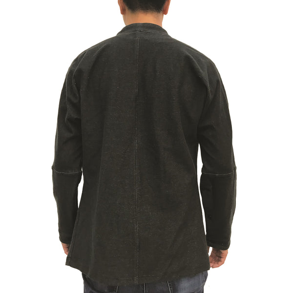 Chinese Stand Collar Shirt, Black Denim