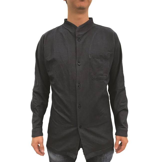 Chinese Stand Collar Shirt, Black Twill