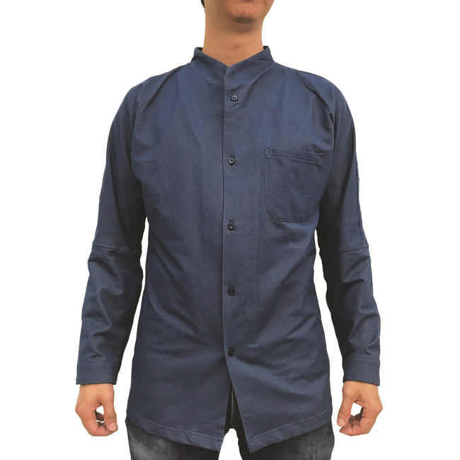 Chinese Stand Collar Shirt, Navy Twill