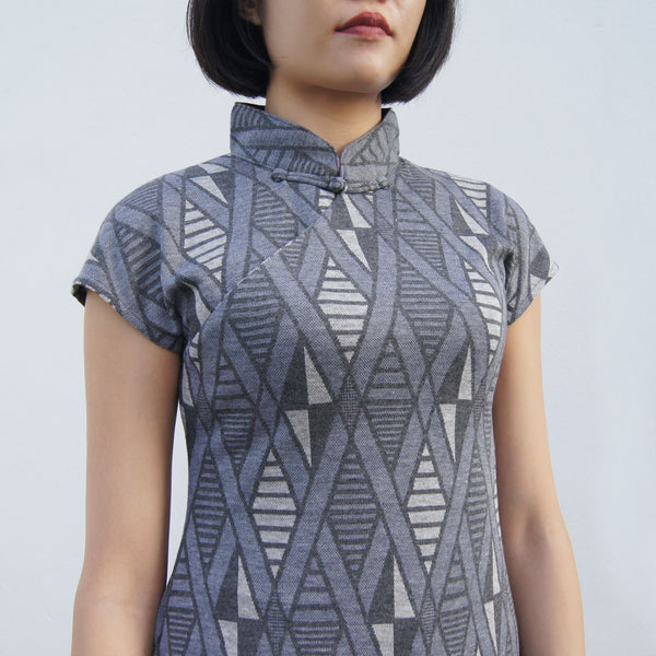 'Yung Chung' Jacquard Qipao dress, Geometric Grey