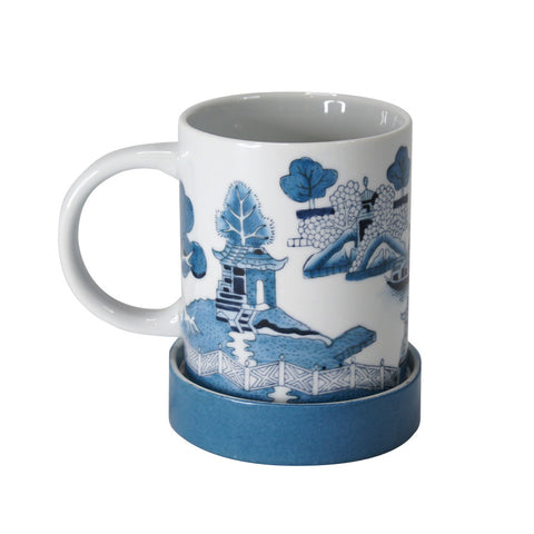 'Chinese garden' handpainted mug with lid - Goods of Desire