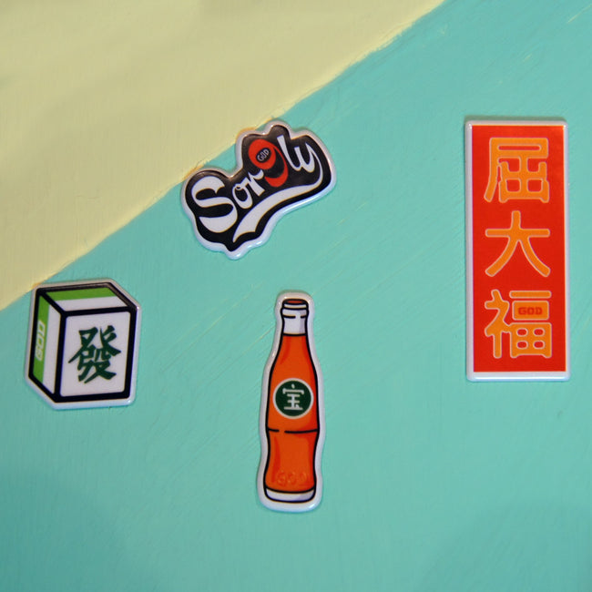3D Sticker Set A - Sor9ly, Mahjong, Bottle, WTF