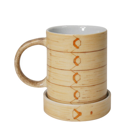 Hand-printed 'Bamboo steamer' mug with lid | Goods of Desire