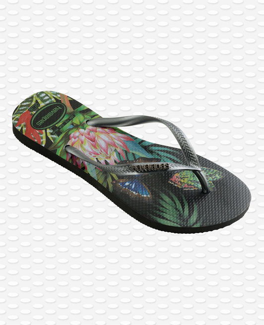 Havaianas Slim Tropical Flip Flops, Black/Graphite