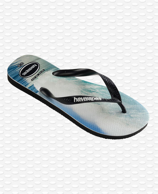 Havaianas Top Photoprint Flip Flops, Black/Black/Blue
