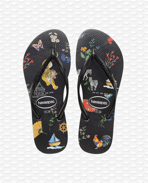 Havaianas Slim Animals Flip Flops, Black/Red