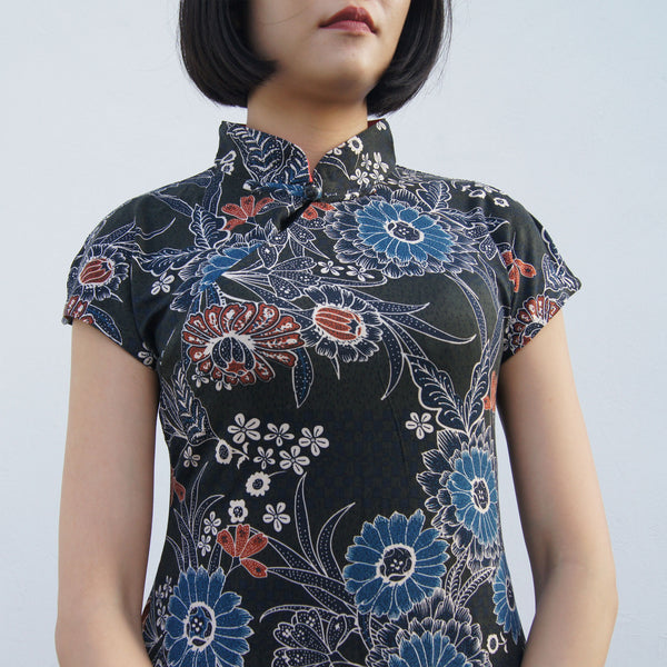 'Yung Chung' Printed Qipao dress, Dark Green Floral