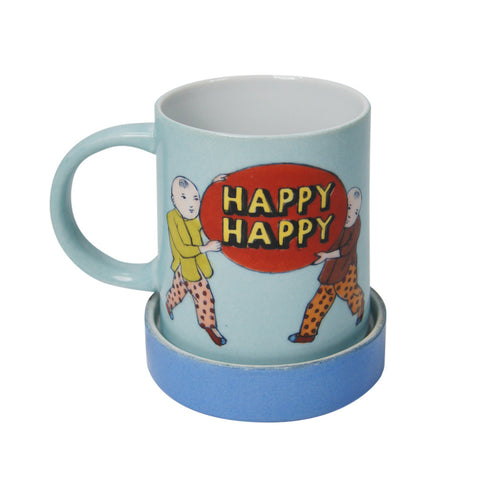 'Double Happiness babies' handpainted mug with lid - Goods of Desire