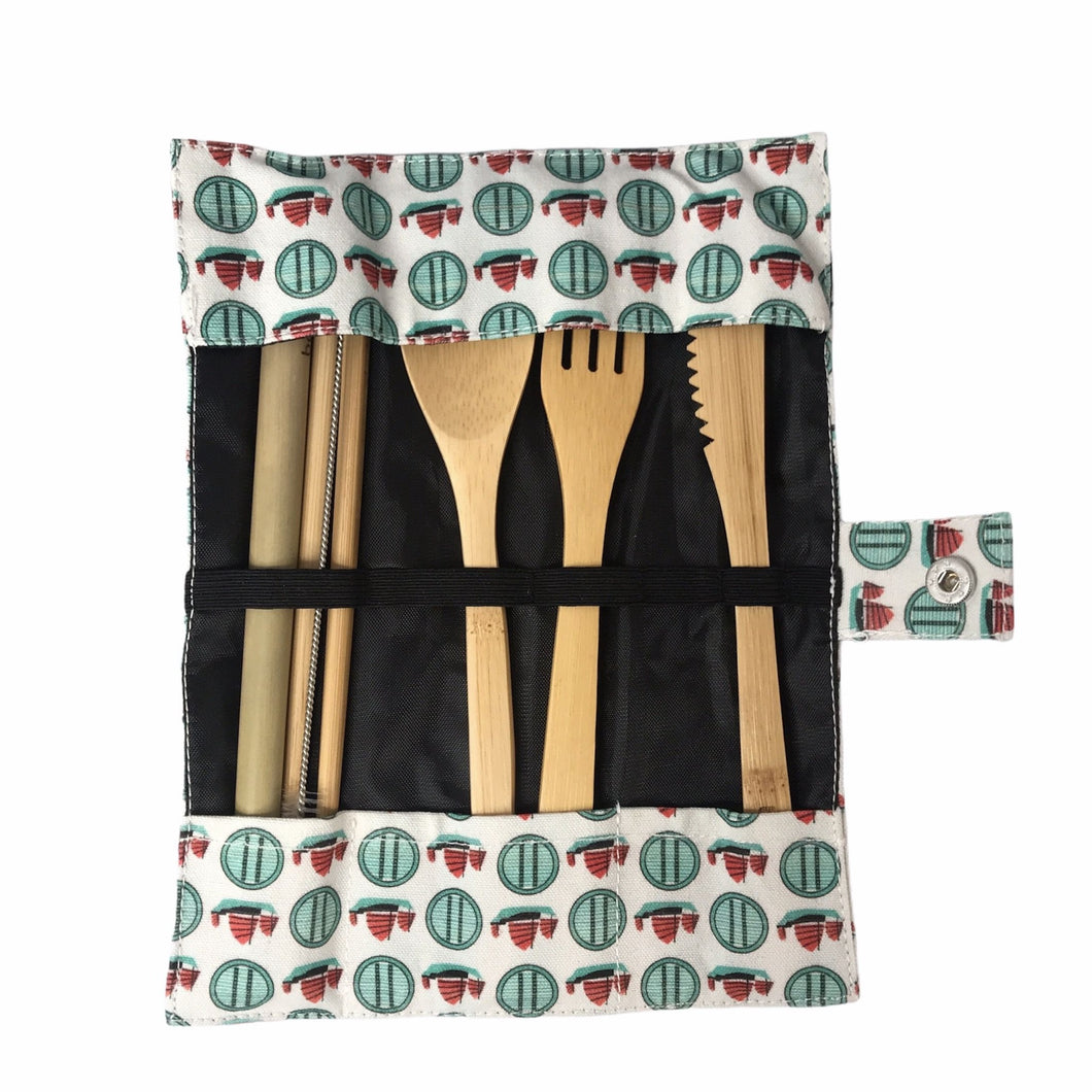 Liz Fry Design 6 Pc Bamboo Cutlery Set, Tseung Kwan O Junks