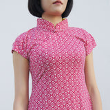 'Yung Chung' Printed Qipao dress, Red Tiles