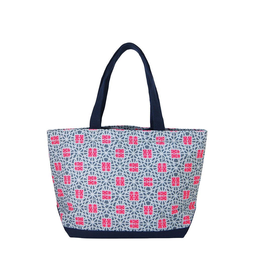 'Double Happiness' zipped canvas tote bag (small)