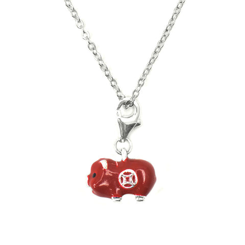 HK Charm with necklace - Red Piggy Bank