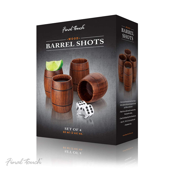 Wood Barrel Shot Glasses by Final Touch