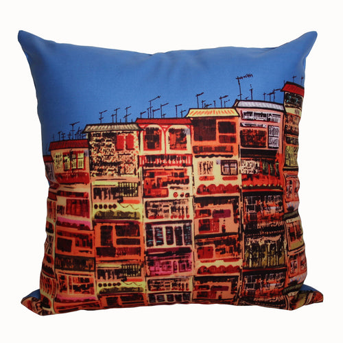 'Alex Croft x G.O.D. graffiti wall' cushion cover (45x45cm)