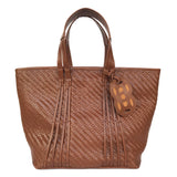 Amah Basket Large Leather Tote, Brown