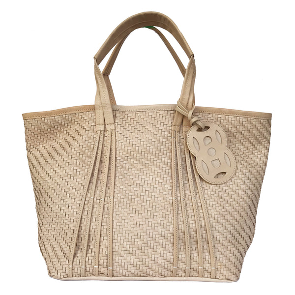 Amah Basket Large Leather Tote, Natural