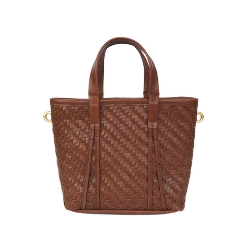 Amah Basket Mini Leather Bag, Brown