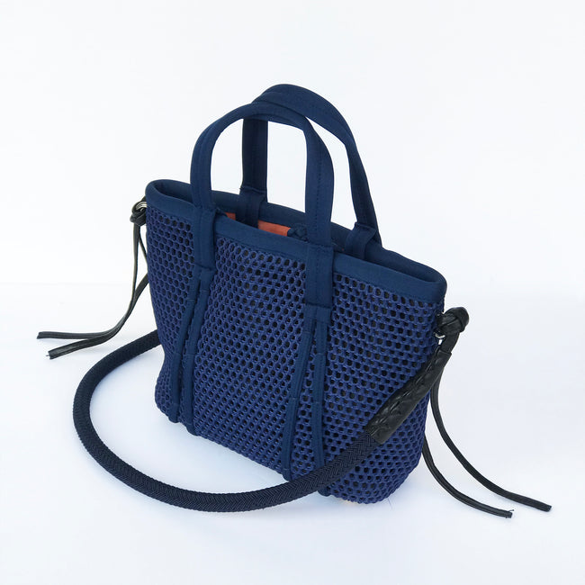 Amah Basket Mini Mesh Bag, Navy