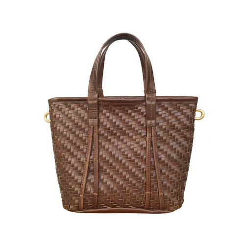 Amah Basket Mini Leather Bag, Dark Brown