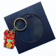 Load image into Gallery viewer, 'Angry Cat' Keychain - Red with Mint Green Collar