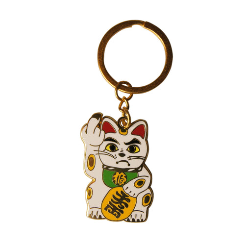 'Angry Cat' Keychain - White with Green Collar