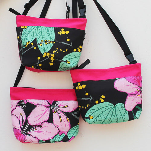 'Bauhinia' (Black) Two-way crossbody and waist bag
