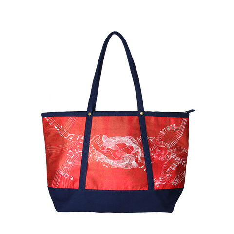 'Koi Symphony' tote bag with navy trim