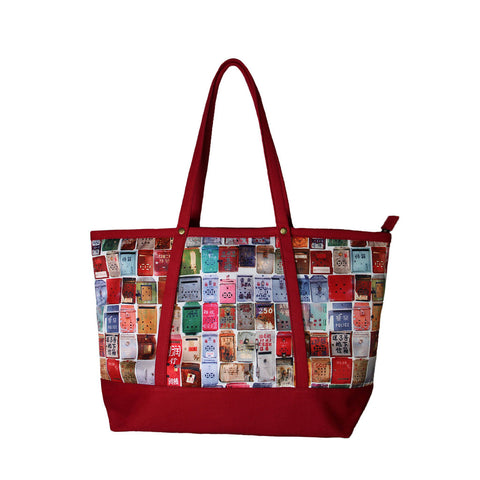 'Letterbox' tote bag with true red trim