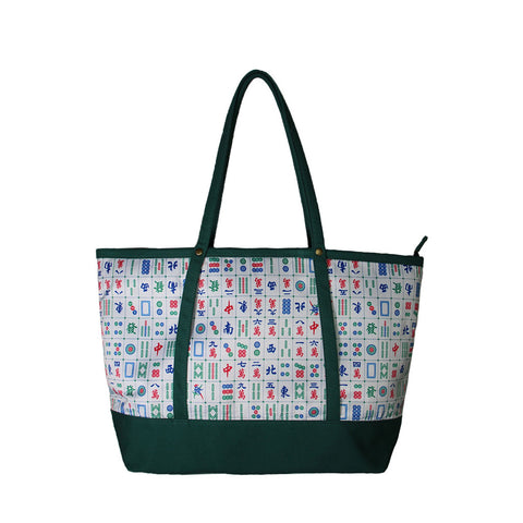 'Mahjong' tote bag with kelly green trim