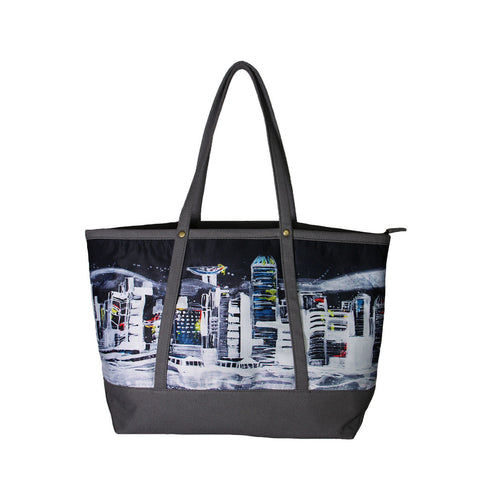 'Hong Kong Skyline' tote bag with charcoal grey trim