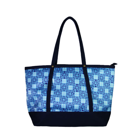 'Double Happiness' tote bag with navy blue trim