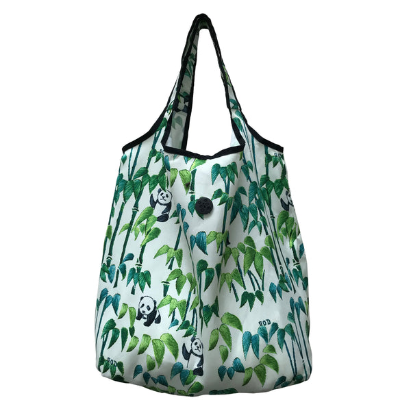 'Panda Bamboo' foldable shopping bag with button