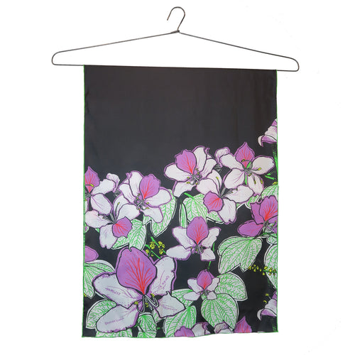 'Bauhinia Black' Silk Scarf, Small